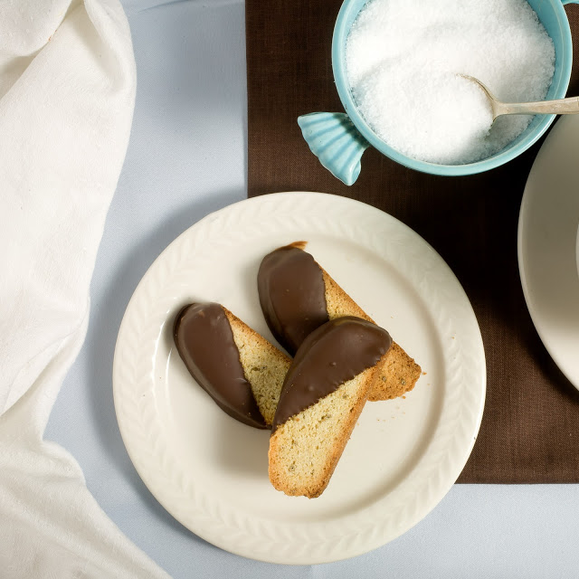 Afternoon delight: Chocolate Dipped Fennel Biscotti