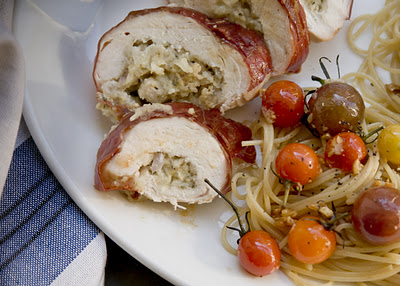 Bleu Cheese and Apple Stuffed Chicken {w blistered tomato pasta}