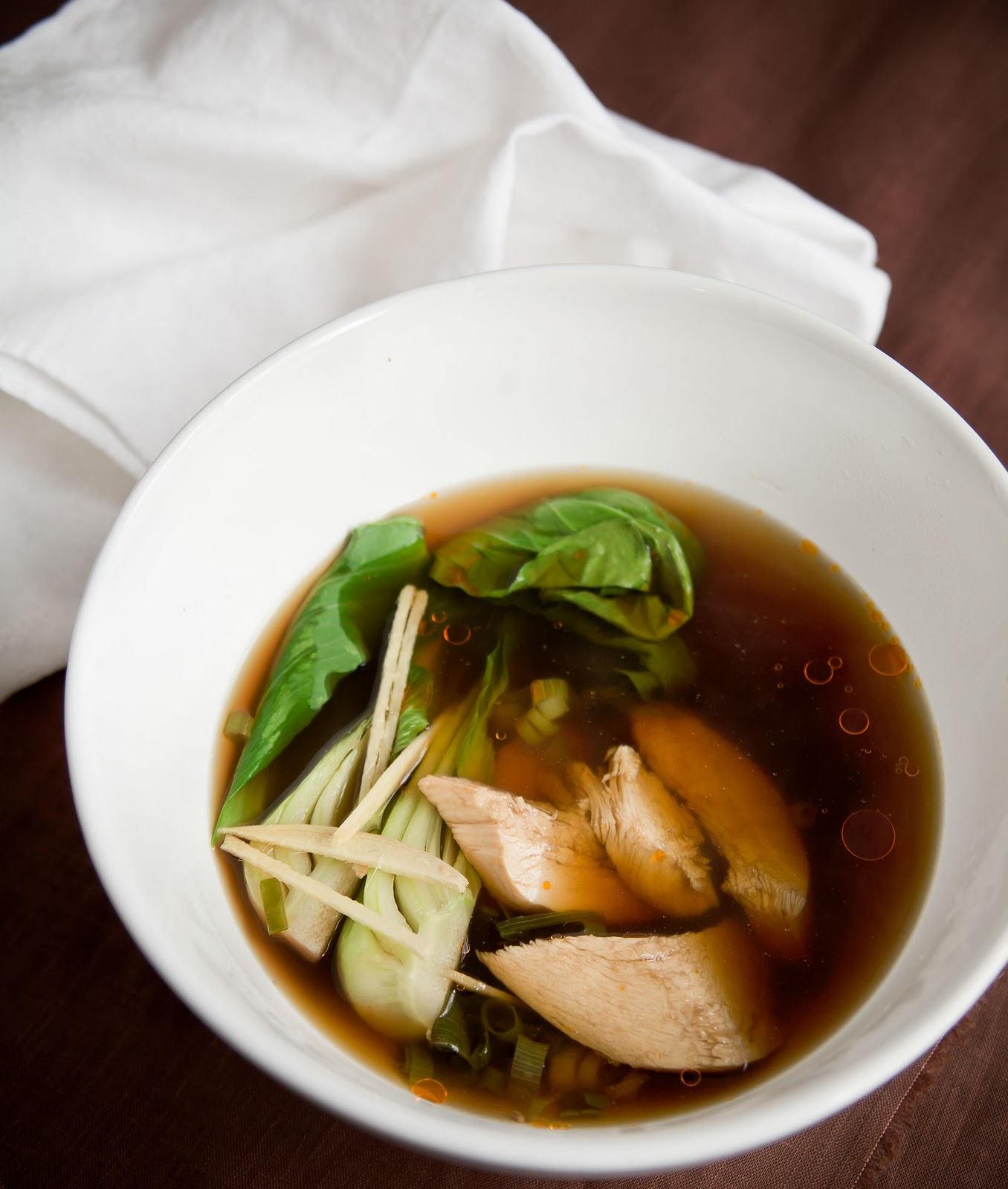 Ginger Poached Chicken Broth Soup - A Stack of Dishes