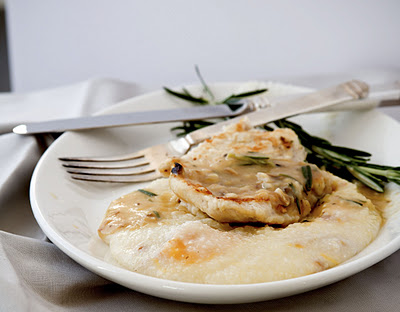 Pan Roasted Lemon Rosemary Chicken with Smoked Cheddar Grits