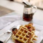 bacon and waffle, waffle with bacon in it, waffle, waffle recipe, a stack of dishes