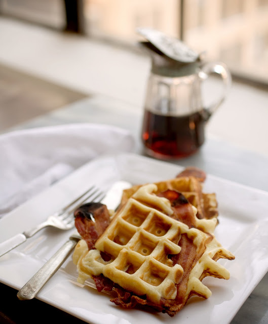 Breakfast For The New Year: Lightened Bacon Waffles