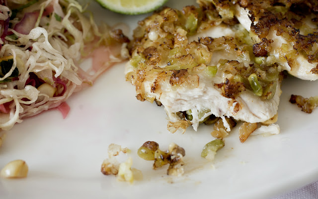 Chicken Crusted with Wasabi Peas and Slaw with Thai Peanut Dressing