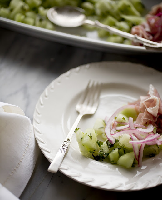 Summer Entertaining- Proscuitto, Melon Salad and Pinked Onion
