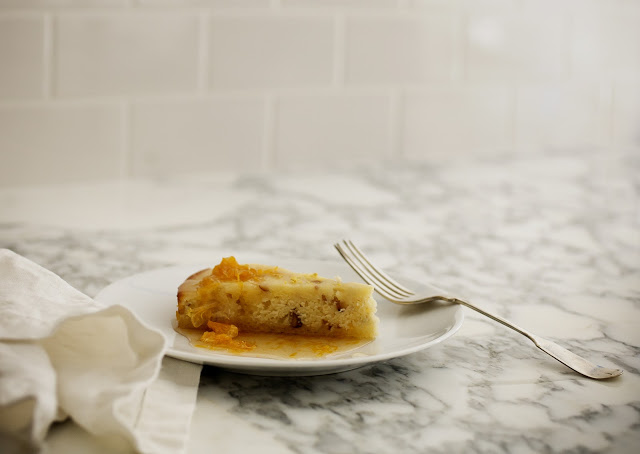 Zesty Lemon Almond Cake with Spiced Tangerine Sauce