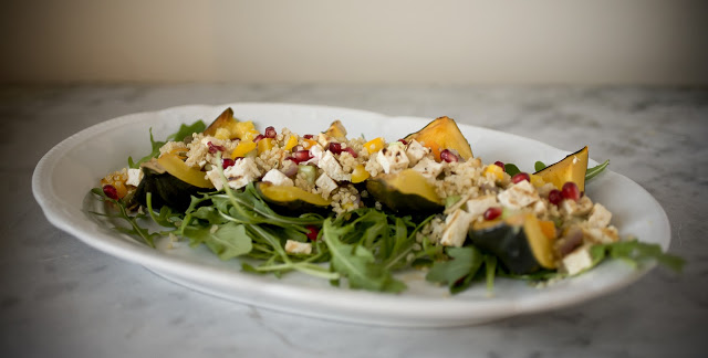Roasted Acorn Squash with Grilled Tofu and Quinoa {And My New Approach to Change}