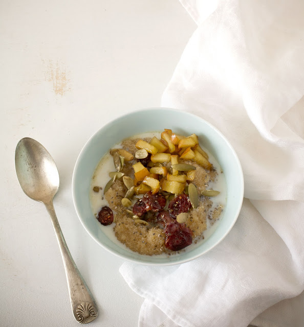 Amaranth Breakfast Bowl with Seeds and Warm Maple Apples