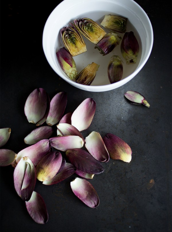 Peeled purple artichokes ~ A Stack of Dishes.com