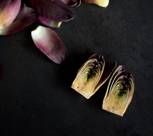 The inside of petite purple artichokes ~ A Stack of Dishes.com