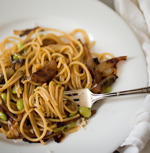 Caramelized Onion Pasta with Edamame and Mint: Radically Simple