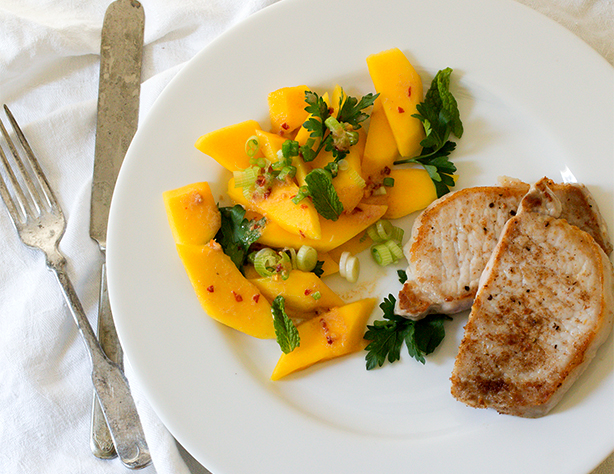 Spiced Pork Chops with Mango Salad