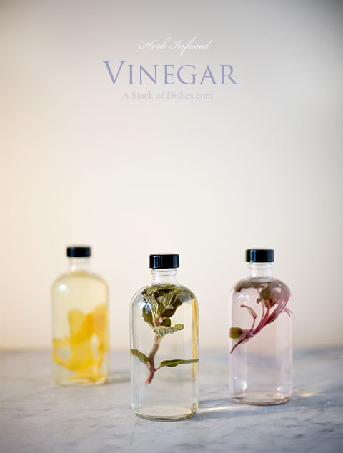 Flavored Vinegars~ A Stack of Dishes