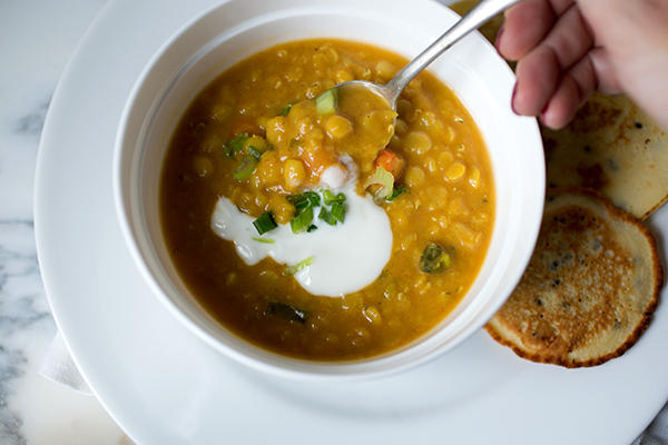 Coconut Lentil Soup and Socca~ A Stack of Dishes