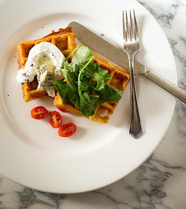 Savory Corn Waffles with Yogurt Cream ~ A Stack of Dishes