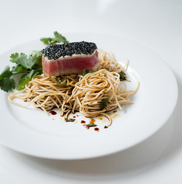 Seared Tuna with Coriander Mint Noodles ~ A Stack of Dishes
