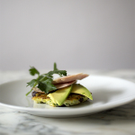 Gingered Herb Rice Cake with Smoked Chicken - A Stack of Dishes