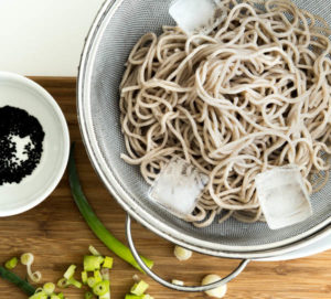 Cold Soba Noodles-A Stack of Dishes