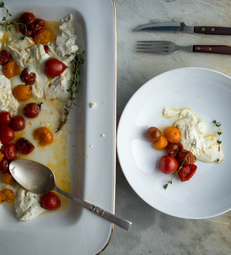 warm roasted tomato fresh mozzarella salad- A Stack of Dishes