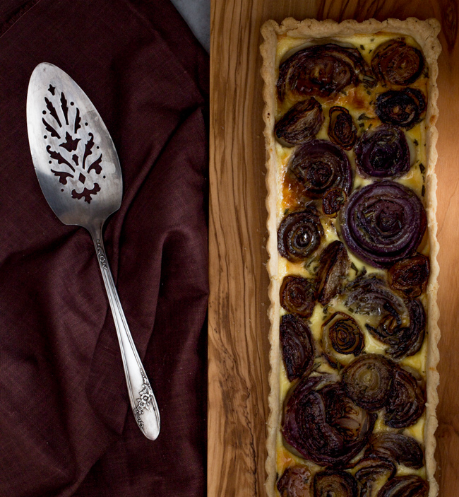 Red Onion Tart- A Stack of Dishes