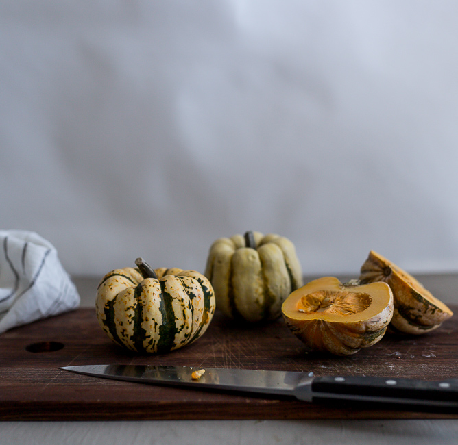 Cut Sweet Dumpling Squash- A Stack of Dishes