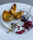 Sweet Dumpling Squash with Yogurt Sauce and Pomegranate Molassas