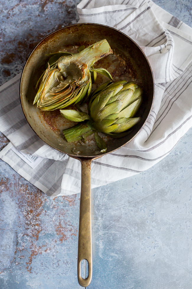 Artichokes Pan Seared -A Stack of Dishes