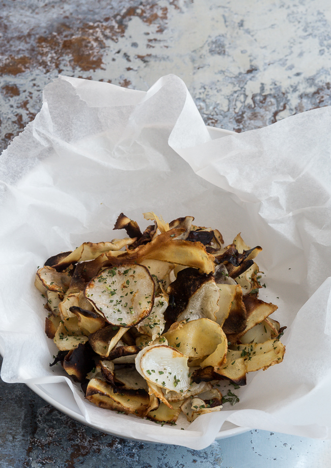 Oven Crispy Root Chips- A Stack of Dishes