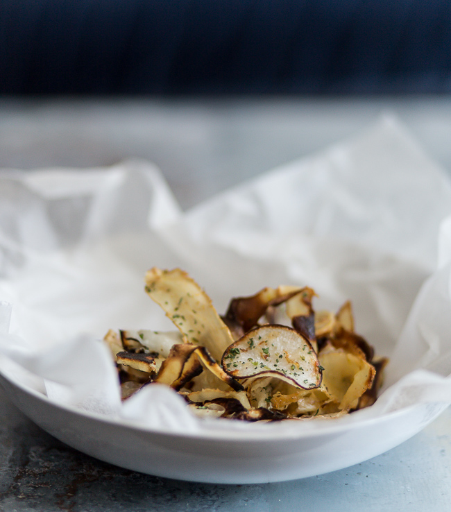 Crispy root chips- A Stack of Dishes