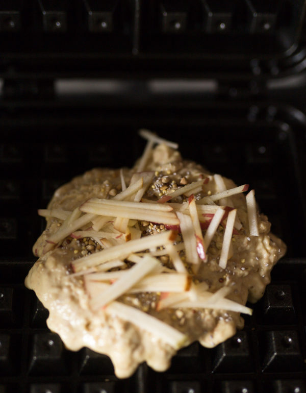 Whole Grain Waffles with Grated Apple- A Stack of Dishes