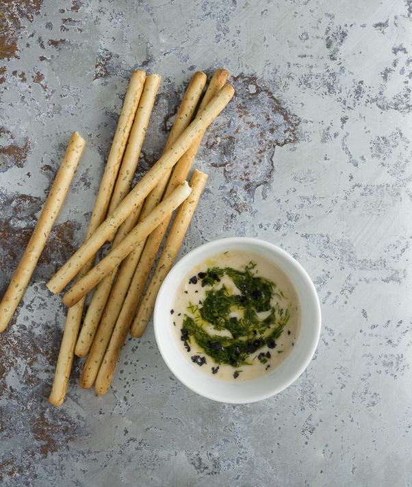 White Bean Hummus with Dill Oil and Black Salt-A Stack of Dishes