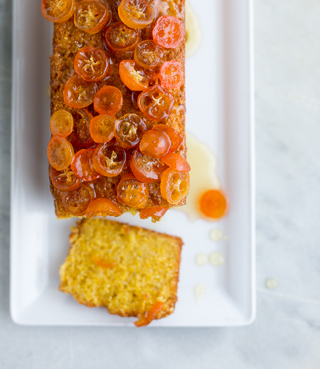 Olive Oil Polenta Cake with Candied Kumquats- A Stack of Dishes